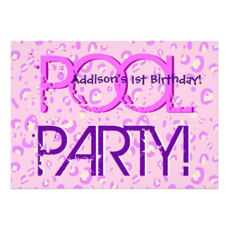 1st Birthday Pool Party Pink and Purple Bubbles Announcement