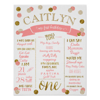 1ST BIRTHDAY POSTER-Pink + Gold Glitter-ONE Poster