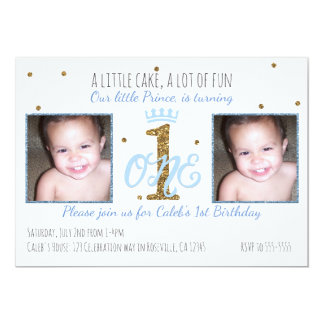 1st Birthday Prince Boys Party Photo Invitation