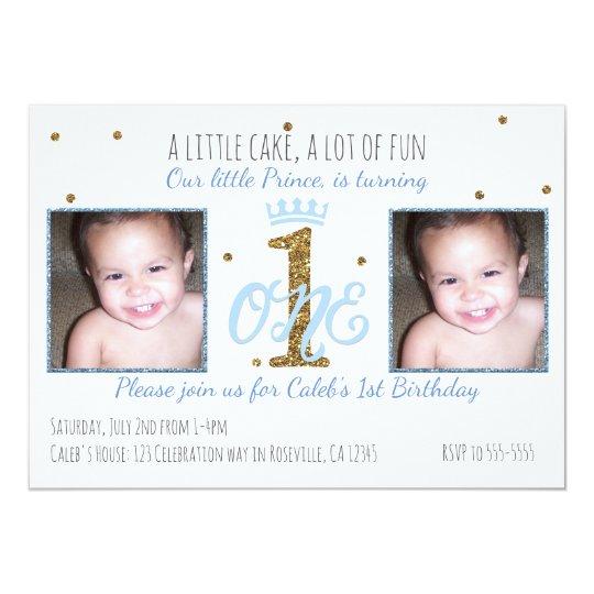 1st Birthday Prince Boys Party Photo Invitation