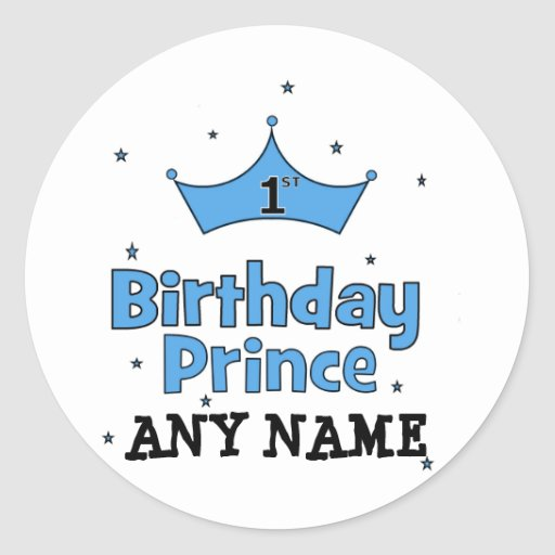 1st Birthday Prince Round Sticker