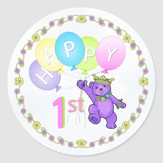 1st Birthday Princess Bear Happy Classic Round Sticker