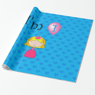 1st Birthday princess blue hearts Wrapping Paper
