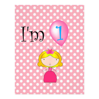 1st Birthday princess pink polka dots Flyer Design