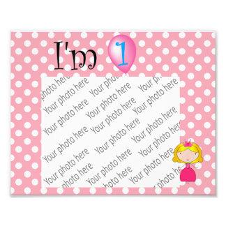 1st Birthday princess pink polka dots Photo Art
