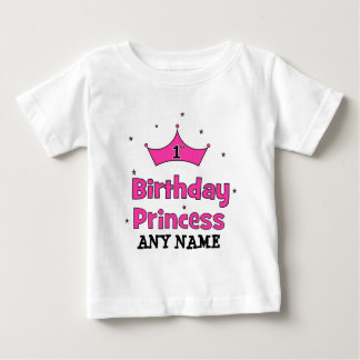 1st Birthday Princess!  with pink crown Baby T-Shirt