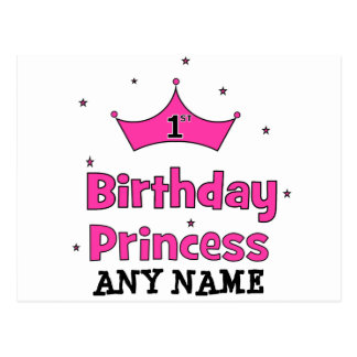 1st Birthday Princess!  with pink crown Post Cards