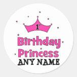 1st Birthday Princess!  with pink crown Round Sticker