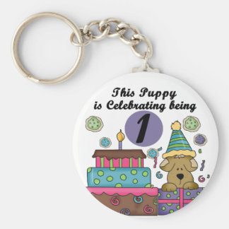1st Birthday Puppy T-shirts and gifts Basic Round Button Key Ring