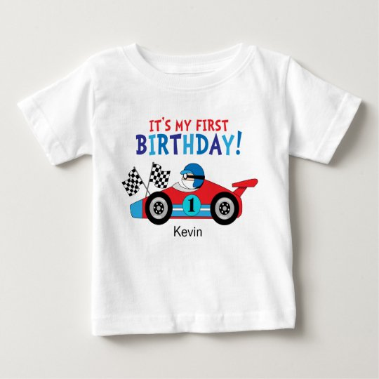 1st Birthday Race Car Red and Blue Baby