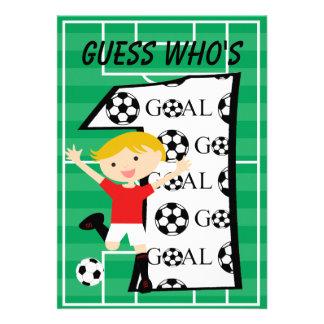 1st Birthday Red and White Soccer Goal Invitation