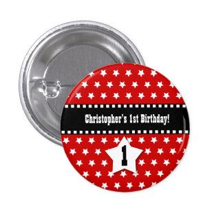 1st Birthday Red Stars Dashed Ribbon W001 3 Cm Round Badge