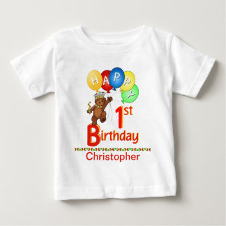 1st Birthday Regal Teddy Bear Custom Name Baby T-Shirt