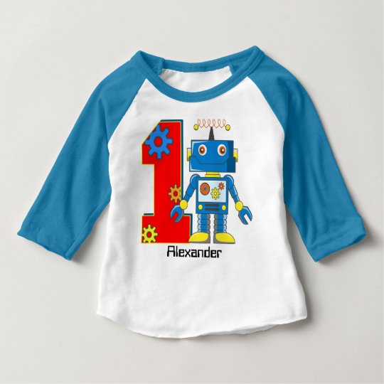 1st Birthday Robot Custom Baby T-Shirt