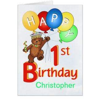 1st Birthday Royal Teddy Bear Greeting Card