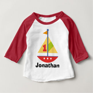 1st Birthday Sailboat Personalized Raglan T-shirt