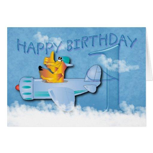 1st Birthday - Seagull Flying Aeroplane - Birthday Greeting Cards