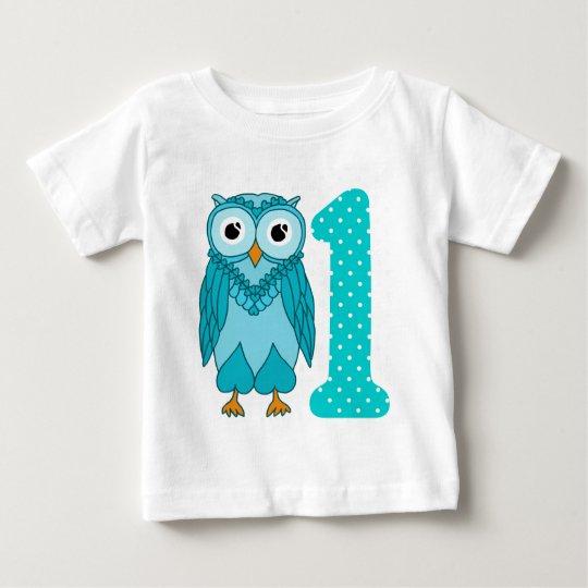 1st Birthday Shirt: Owl Blue Baby T-Shirt