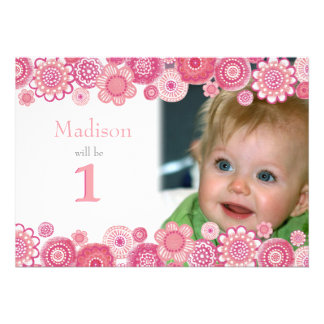 1st Birthday Soft Pink Party Invitation Photo Card