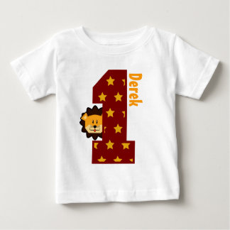1st Birthday Stars and Lion One Year Old Baby T-Shirt