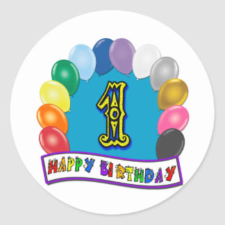 1st Birthday Sticker with Assorted Balloons