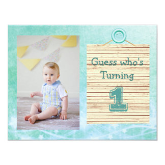1st Birthday Teal Baby Boy Party Invitations