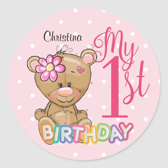 1st Birthday Teddy Bear Pink Custom Classic Round