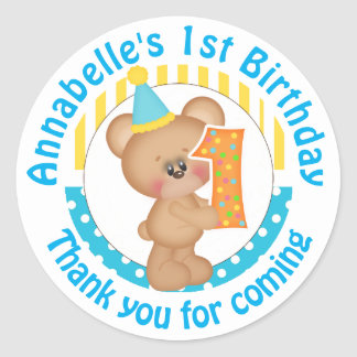 1st Birthday Teddy Bear Round Sticker