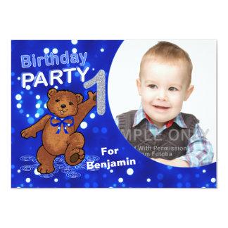 1st Birthday Teddy Bears Party, Custom Photo 11 Cm X 16 Cm Invitation Card