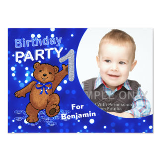 1st Birthday Teddy Bears Party, Custom Photo Card
