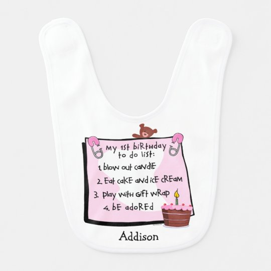 1st Birthday To Do's Pink Bib
