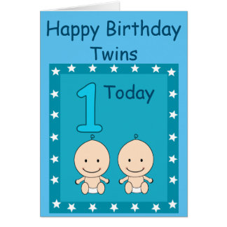 1st Birthday Twin Boys Custom Card