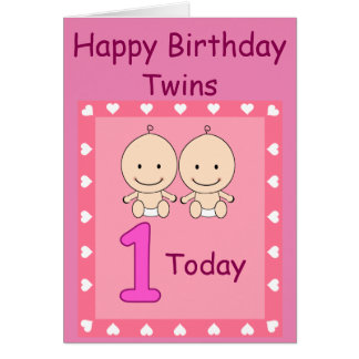 twins first birthday cards  invitations  zazzle.co.uk, Birthday card