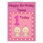 1st Birthday Twin Girls Custom Greeting Card