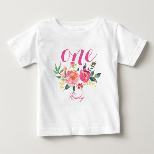 1st Birthday Watercolor Floral Personalised-4 Baby T-Shirt