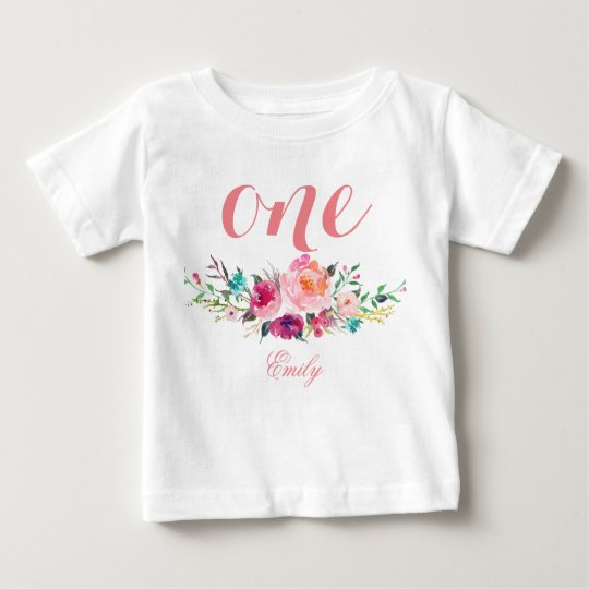 1st Birthday Watercolor Floral Personalised-8 Baby T-Shirt