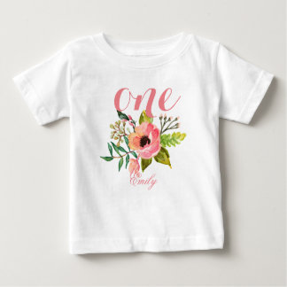 1st Birthday Watercolor Floral Personalized-2 Baby T-Shirt