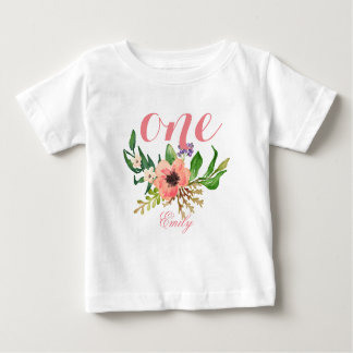 1st Birthday Watercolor Floral Personalized-3 Baby T-Shirt