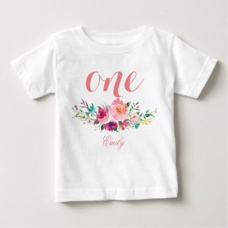 1st Birthday Watercolor Floral Personalized-8 Baby T-Shirt