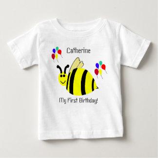 1st Birthday Yellow Bumble Bee & Balloons Shirt