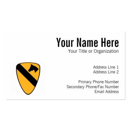 1st Cav Patch Pack Of Standard Business Cards