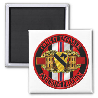 1st Cavalry Division Engineer OEF Square Magnet