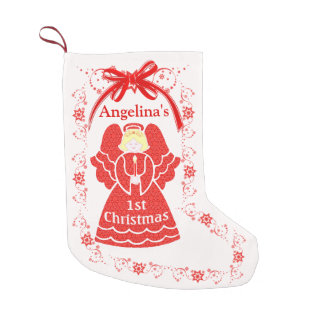 1st Christmas Angel For Baby Girl Custom Name Small Christmas Stocking