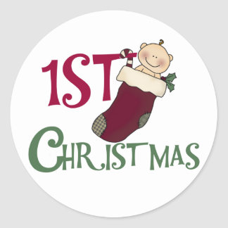 1st Christmas-Baby in Stocking Round Sticker