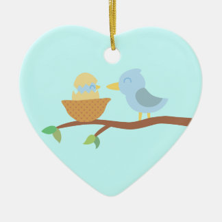 1st Christmas: Blue bird with just hatched baby Christmas Ornament