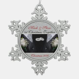 1st Christmas | Gay Marriage | Custom Snowflake Pewter Christmas Ornament