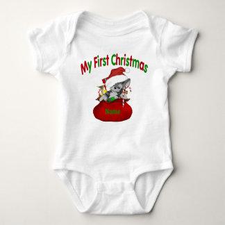 1st Christmas Kitty Personalized Baby Bodysuit