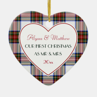 1st Christmas Married Gifts-Stewart Plaid Christmas Ornament