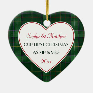 1st Christmas Married Green Plaid Gift Heart Christmas Ornament