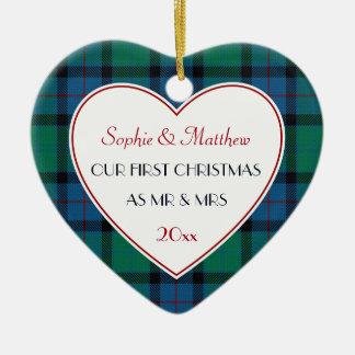 1st Christmas Married Plaid Gift Heart Christmas Ornament